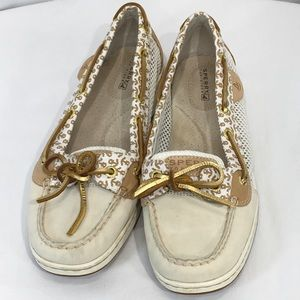 Sperry Top Sider Cream Leather Gold Anchors 9M